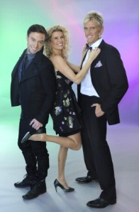 Bild: Måns Zelmerlöw, Christine Meltzer och Dolph Lundgren är programledare i Melodifestivalen 2010.