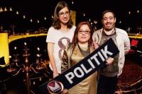 UR:s MiffoTV möter ett antal politiker inför valet i höst. De tre programledarna är Nancy Delic, Sophia Bergman och Balint Marton. © Foto: Erik Amkoff/UR