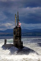 HMS Tireless in the Clyde Estuary leaving HMNB Clyde, Julian Merrill © Crown Copyright