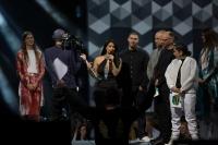 Linda Pira vinner priset Årets hiphop/soul noch Årets låt på P3 Guld 2015 Foto: Mattias Ahlm/Sveriges Radio
