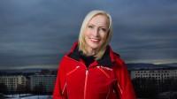 Karen-Marie Ellefsen er programleder i hoppbakken under VM på ski i Lahti. FOTO: JULIA MARIE NAGLESTAD / JULIA MARIE NAGLESTAD/NRK