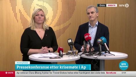 NRK2 blir kanalen for nyheter, sport og aktualiteter og for ekstra nyhetssendinger og pressekonferanser, som her etter sentralstyremøtet i Ap 2. januar.  FOTO: NRK