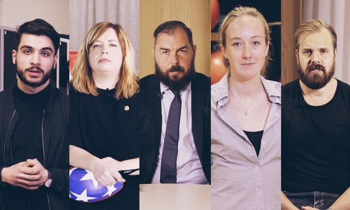 Shanga Aziz, Sofia B. Karlsson, Alexander Axén, Cecilia Åkesdotter och Sanny Lindström