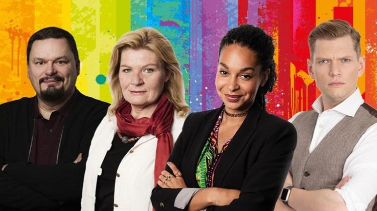 Roger Wilson, Cecilia Uddén, Palmira Koukkari Mbenga och Henrik Torehammar Foto: Sveriges Radio