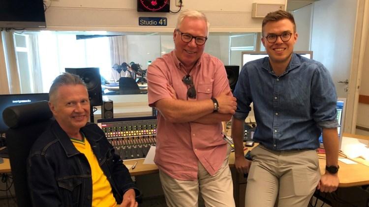 Producenten Håkan Lahger, Anders Berglund och teknikern Johan Egeskog. Foto: Bibi Rödöö