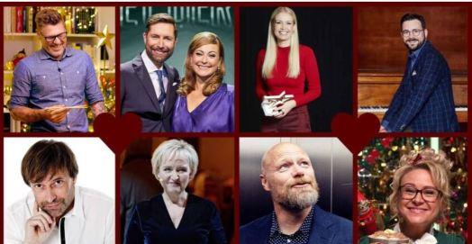 Timm Vladimir, Kåre Quist, Stéphanie Surrugue, Phillip Faber, Martin Brygmann, Tine Gøtzsche, Mads Steffensen og Silja Okking har alle en central rolle i julens TV. (Foto: (C) DR)