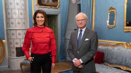 Rania Shemoun Olsson och kung Carl XVI Gustaf.  Fotograf: Foto: Johan Österberg/TV4.
